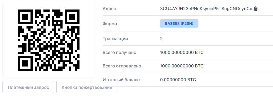 Транзакция блокчейн Биткоин
