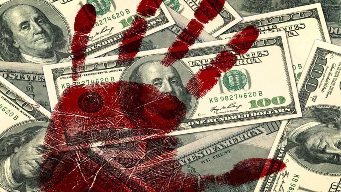 доллар кровь рука