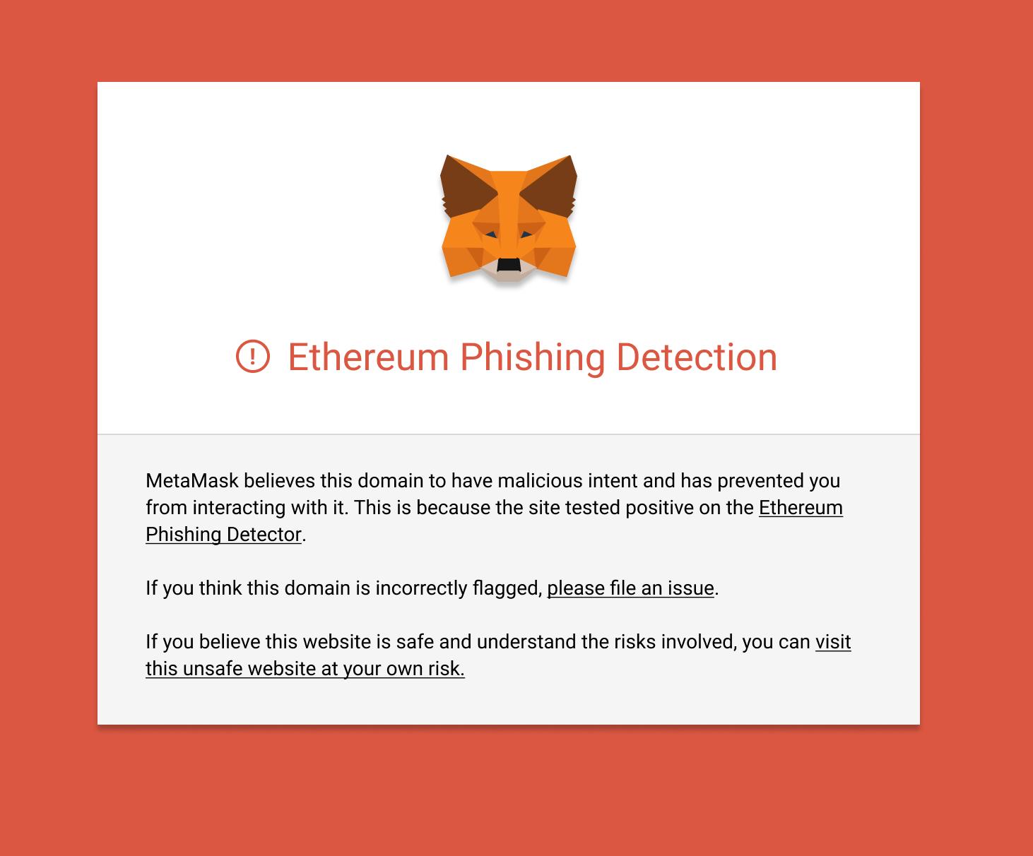 сайт предупреждение Metamask
