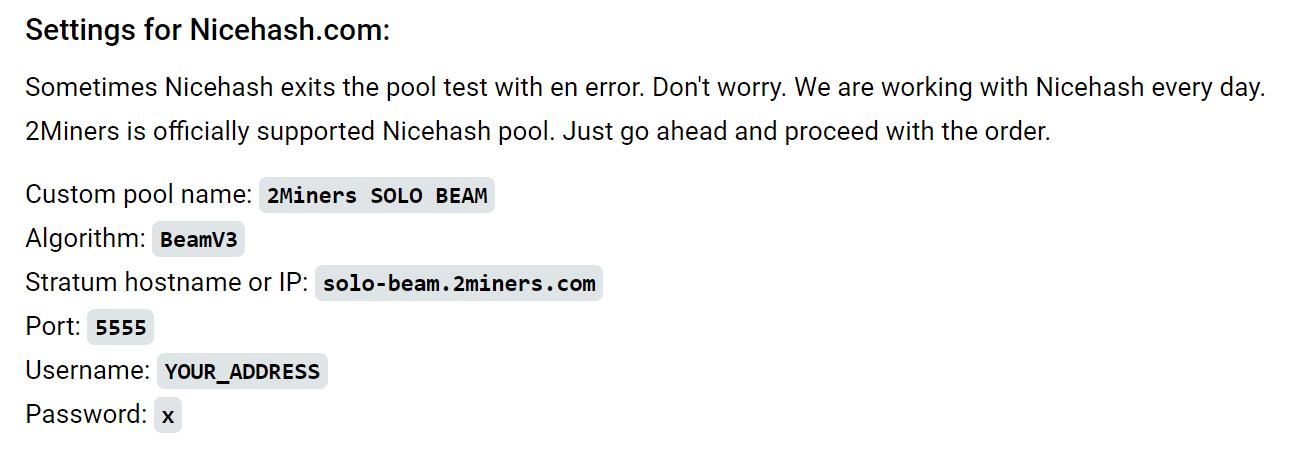 Настройки Beam NiceHash
