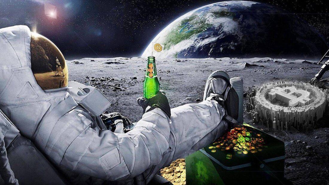 Луна астронавт Биткоин