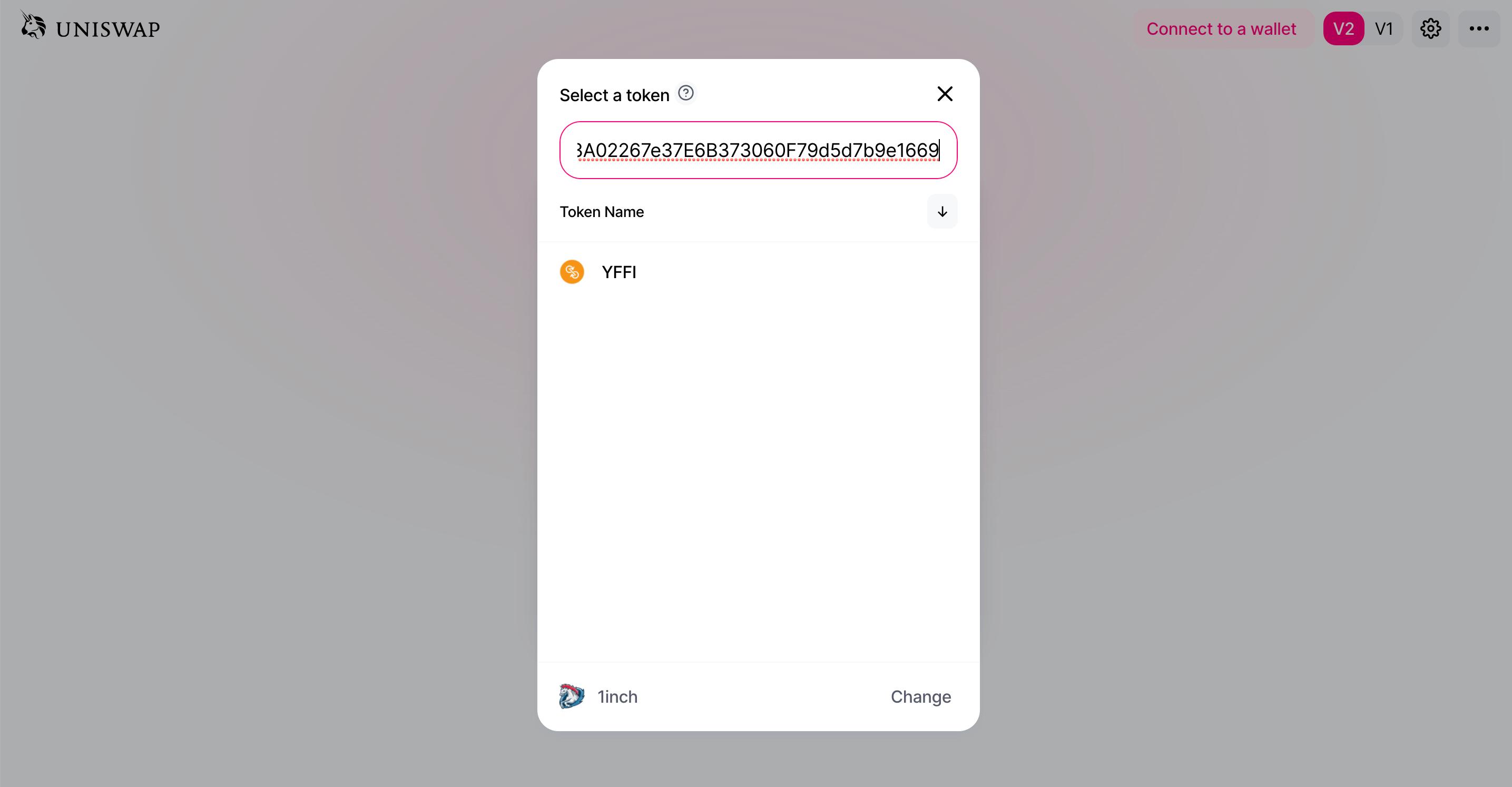 Выбор токена Uniswap контракт