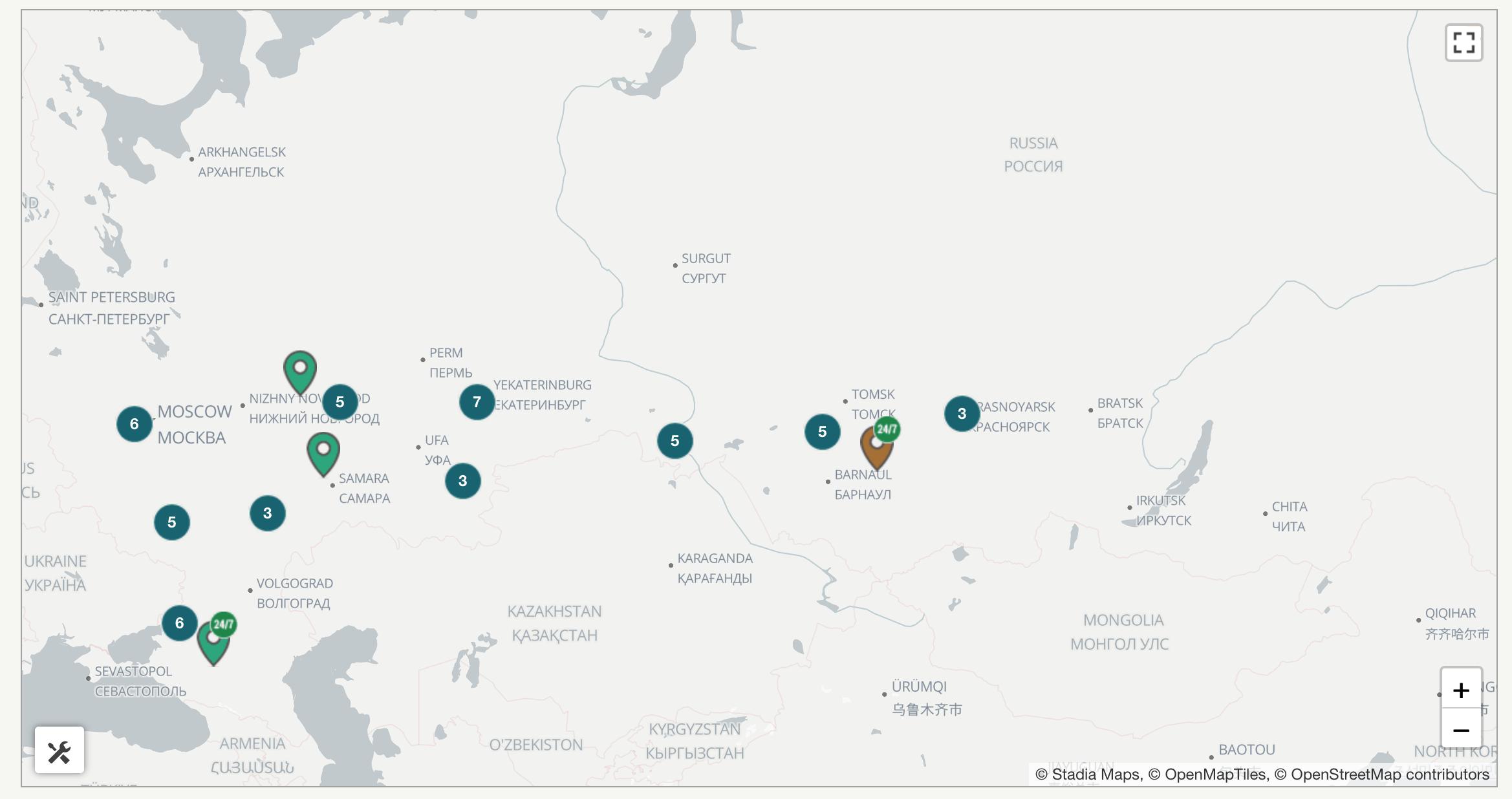 Криптоматы в России карта