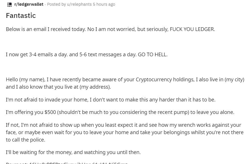 Письмо владельцу Ledger от вымогателя