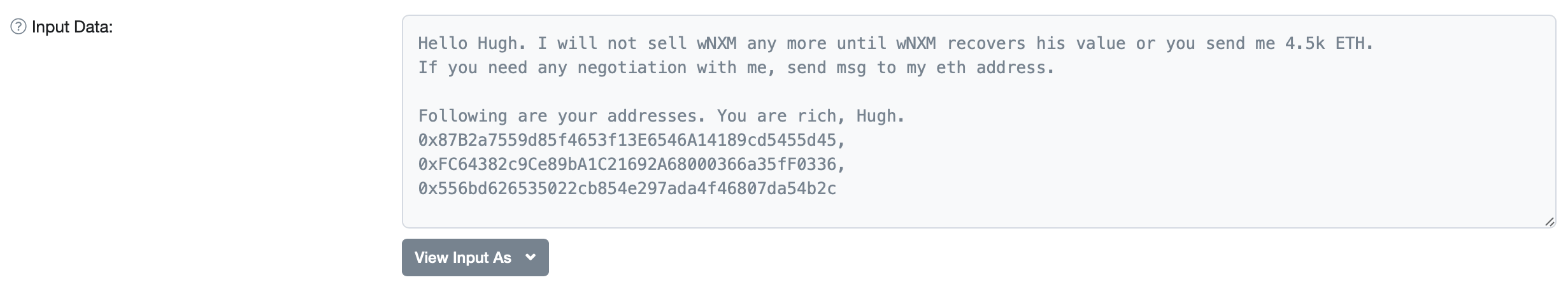 Сообщение хакера NXM