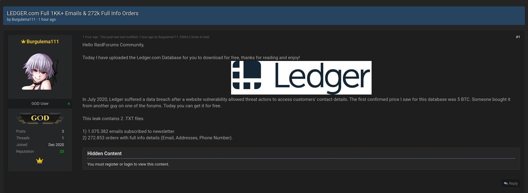 форум хакер Ledger