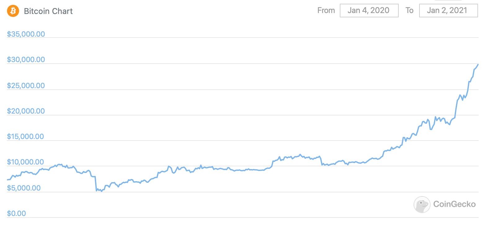 Изменение курса Биткоина за последний год