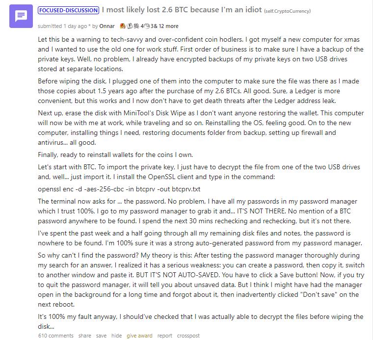 Reddit криптовалюты пост