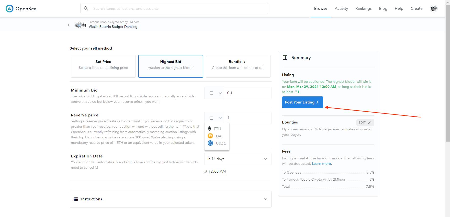 Продажа NFT-токен OpenSea