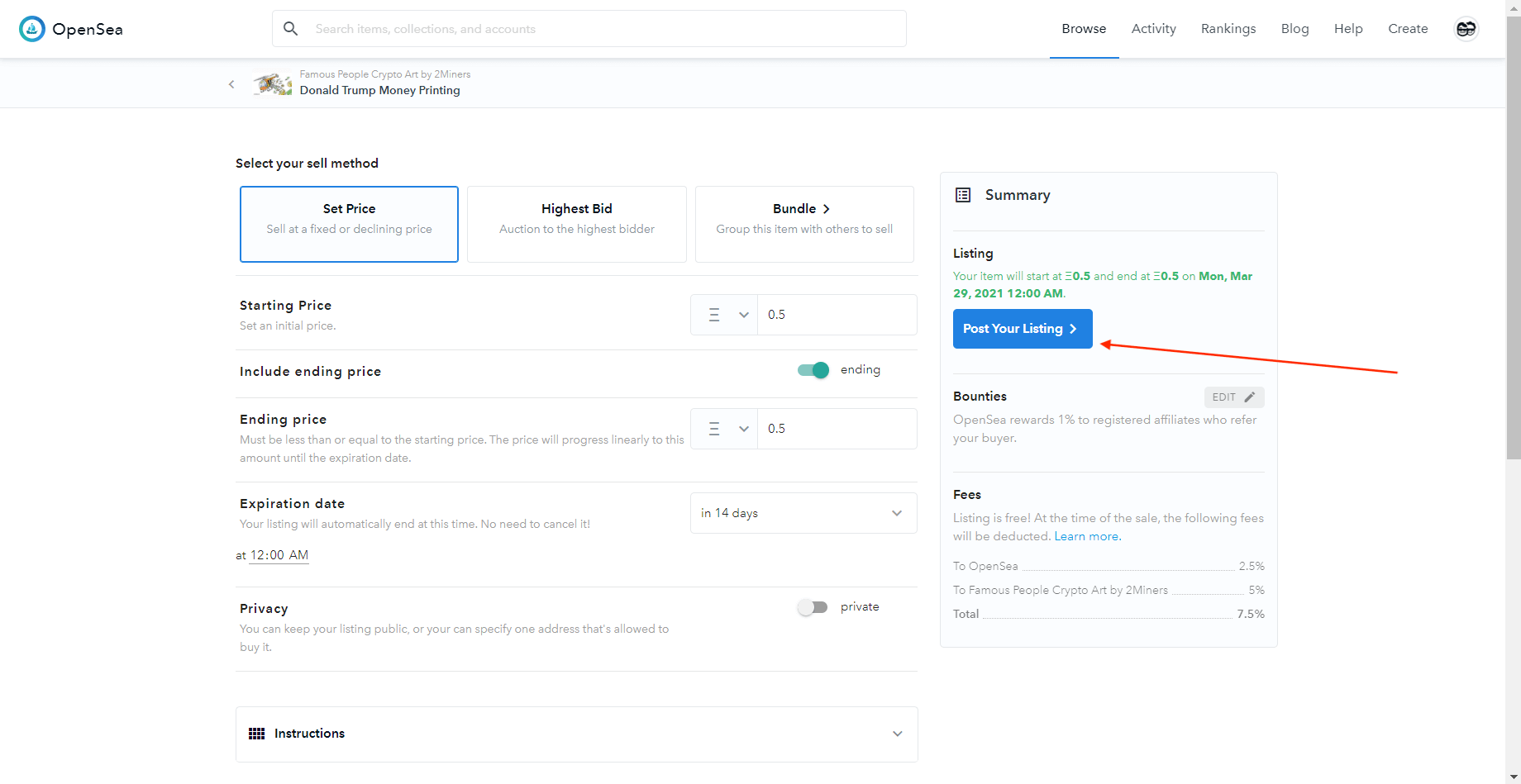NFT продажа OpenSea