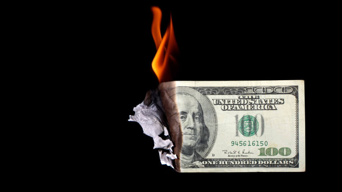 доллар горение купюра