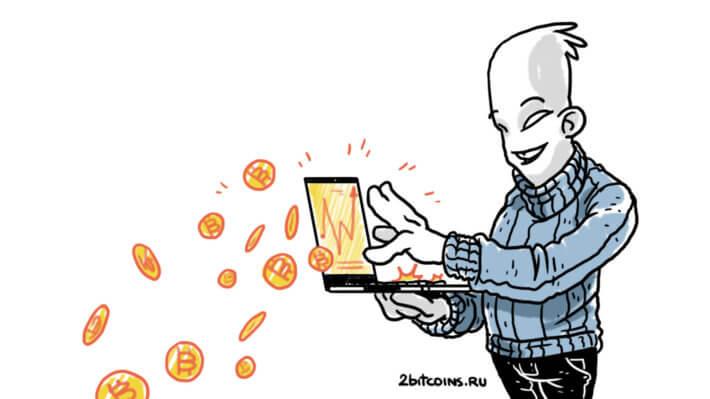 монеты Биткоин ноутбук трейдинг
