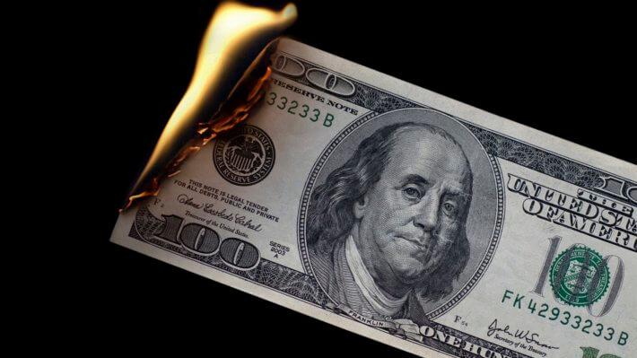 доллар огонь купюра