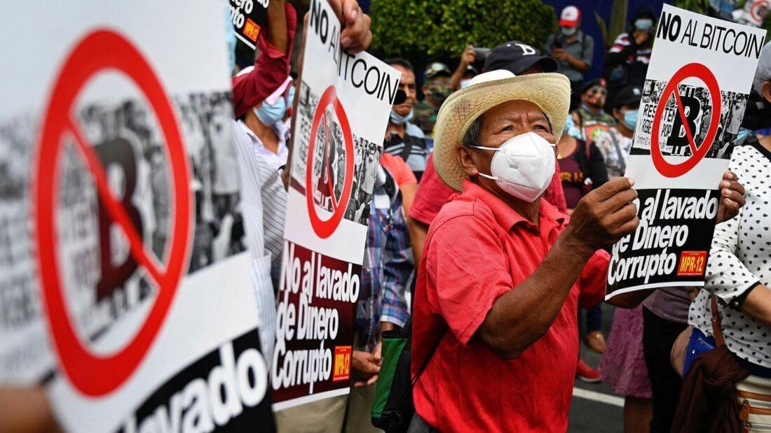 протест Биткоин криптовалюта Сальвадор
